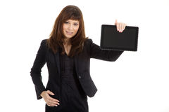 Biznesowa kobieta z pastylką Fotografia Stock