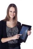 Biznesowa kobieta z pastylką Obraz Royalty Free