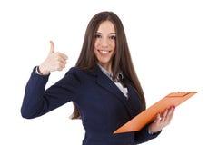 Biznesowa kobieta z pozytywnym wyrażeniem zdjęcie royalty free