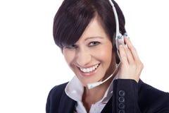 Biznesowa kobieta z słuchawki Obrazy Royalty Free