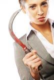 Biznesowa kobieta z sierpem Fotografia Stock