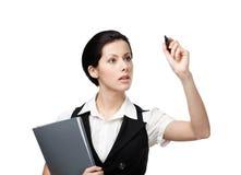 Biznesowa kobieta z skoroszytowym writing na niewidzialnym ekranie Obrazy Stock