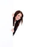 Biznesowa kobieta z sztandarem Zdjęcie Royalty Free