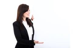 Biznesowa kobieta z sztandarem Fotografia Stock