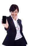 Biznesowa kobieta z telefonem komórkowym Fotografia Royalty Free