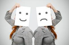 Biznesowa kobieta z uśmiechem i smutną twarzą Zdjęcie Stock