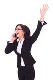 Biznesowa kobieta zwycięska na telefonie Obrazy Stock