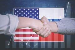 Biznesowa konferencja z Ameryka i holandii flaga obraz royalty free