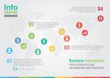 Biznesowa kreskowa mapa infographic Biznesowego raportu kreatywnie rynek Obraz Royalty Free