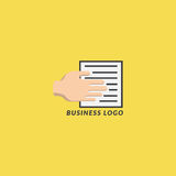 Biznesowa logo ręka, papier i royalty ilustracja