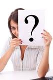 biznesowa mienia oceny pytania kobieta Fotografia Stock