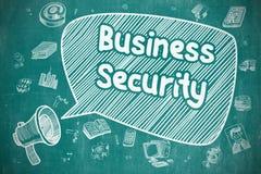 Biznesowa ochrona - kreskówki ilustracja na Błękitnym Chalkboard ilustracja wektor
