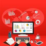 Biznesowa osoba Analizuje dane gospodarki statystyki Biznesowych statystyk pojęcie royalty ilustracja
