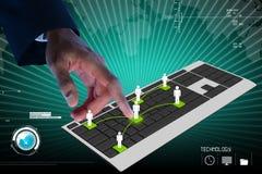 Biznesowa osoba dotyka cyfrową klawiaturę Zdjęcie Royalty Free
