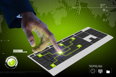 Biznesowa osoba dotyka cyfrową klawiaturę Zdjęcia Stock