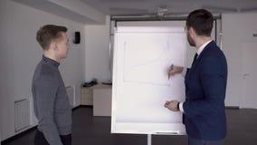 Biznesowa osoba jest rysunkowym wykresem na blackboard w nowożytnym biurze zbiory wideo