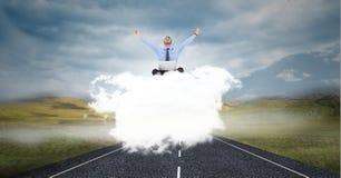 Biznesowa osoba na chmurze Zdjęcia Stock