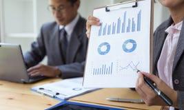Biznesowa osoba teraźniejsza fachowy inwestor pracuje nowego sta obrazy stock