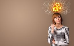 Biznesowa osoby pozycja z brainstorming poj?ciem obraz royalty free