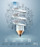 Biznesowa ołówkowa schody Infographics opcja. Zdjęcia Royalty Free