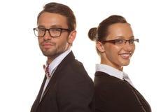 Biznesowa para jest ubranym szkła Obraz Royalty Free