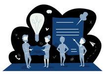 Biznesowa pojęcie wektoru ilustracja błękitnej palety płaska grafika ludzie dyskutuje pracę, biznes, cele i osiągnięcia, royalty ilustracja