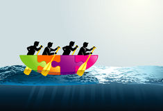 Biznesowa praca zespołowa na łodzi Obraz Royalty Free