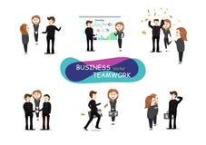 Biznesowa praca zespołowa, wektor, społeczności działanie, grupa ludzi ilustracja wektor