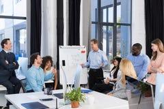 Biznesowa prezentacja, biznesmena Wiodący spotkanie biznesmen grupa W sala posiedzeń, Drużynowy Brainstorming, Dyskutuje Zdjęcia Royalty Free