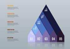 Biznesowa przyrosta 5 kroka infographics opcja Szablon dla prezentaci i obieg układu abstrakcyjny tło Obrazy Stock