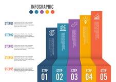 Biznesowa przyrosta 5 kroka infographics opcja Szablon dla prezentaci i obieg układu abstrakcyjny tło Obraz Royalty Free