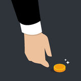Biznesowa ręka - podnosi Up monetę Zdjęcia Royalty Free