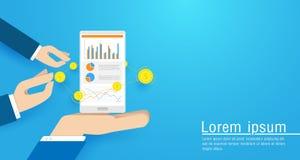 Biznesowa ręka trzyma Mądrze telefon z online sprzedaży statystykami, rynek papierów wartościowych mapa Płaska wektorowa ilustrac Fotografia Royalty Free