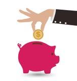 Biznesowa ręka Z prosiątko monetą i bankiem ilustracji