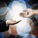 Biznesowa ręka pyta dla leków obraz stock