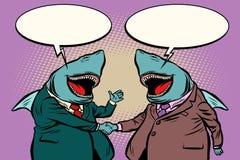 Biznesowa rekin rozmowa each inny ilustracji