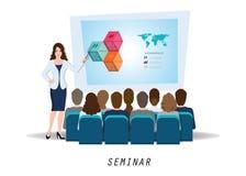 Biznesowa seminaryjna żeńska głośnikowa robi prezentacja wyjaśnia c ilustracja wektor