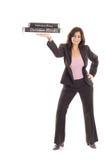 biznesowa szczęśliwa mienia pizz kostiumu kobieta Zdjęcia Stock