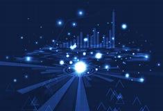 Biznesowa technologia, analiza cyfrowa prętowa mapa, siatka i data, royalty ilustracja