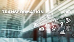 Biznesowa transformacja Przysz?o??, innowacji sie? i internet poj?cie i t?o sprawy abstrakcyjne Mieszani ?rodki zdjęcia stock