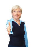 biznesowa uścisk dłoni seniora kobieta Fotografia Royalty Free
