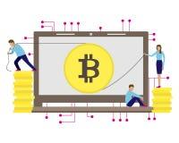 Biznesowa wektorowa ilustracja bitcoin kopalnictwo tła podpisu obejmowania żeńska szarość wręcza żołądek ciężarne kobiety małym m royalty ilustracja