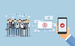Biznesowa wideo marketing zawartość online, wideo wideo udzielenie i ilustracji