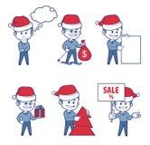 Biznesowe charakter chłopiec dla wakacyjnego sprzedaż sztandaru Obraz Royalty Free