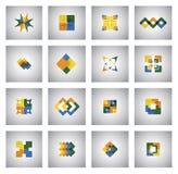 Biznesowe ikony na różnorodnych kształtach i kolorach - pojęcie wektoru gra Zdjęcia Royalty Free