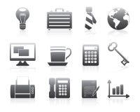 Biznesowe Ikony Ustawiają Sylwetek Serie ilustracji
