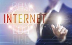 Biznesowe kobiety dotyka interneta ekran Fotografia Royalty Free