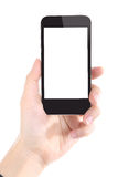 Biznesowe kobiety trzyma Mądrze telefon zdjęcie royalty free