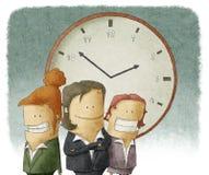 Biznesowe kobiety z zegarem Zdjęcia Royalty Free