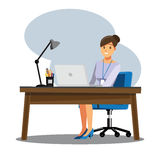 Biznesowe kobiety Zaludniają biurko, Wektorowy ilustracyjny kreskówki characte royalty ilustracja